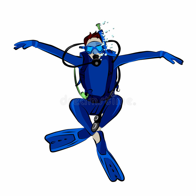 Scuba Diver. Posing like an eagle. Clipping path included vector illustration