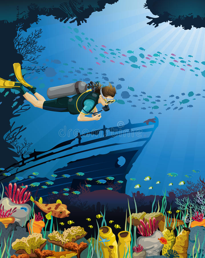 Free Scuba Diver And Coral Reef Royalty Free Stock Image - 32783616