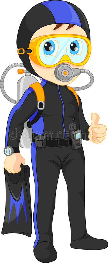 Scuba diver boy thumb up royalty free illustration