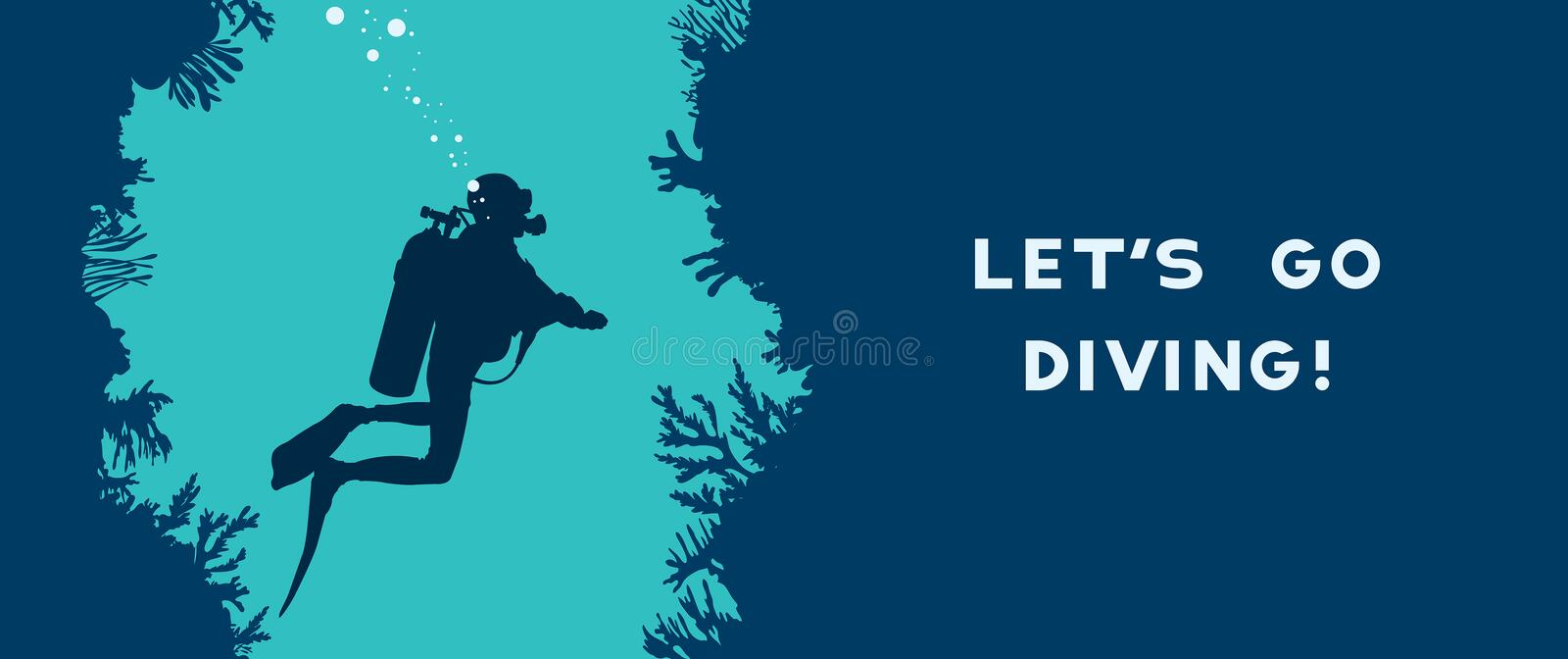 Scuba diver, cave, coral reef. Card with silhouette of scuba diver swims in the underwater cave near the coral reef. Vector nature illustration with text - Let`s stock illustration