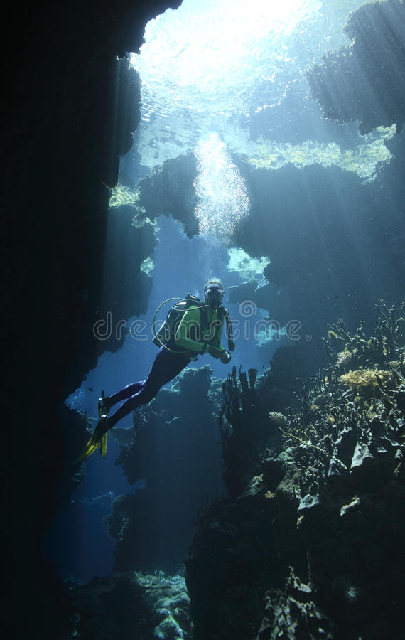 Download Scuba Diver In A Cave With Sunbeams Stock Image - Image: 10621785