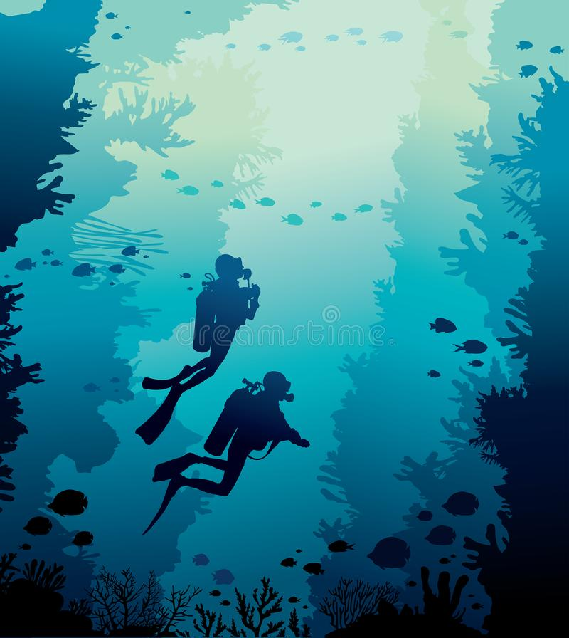 Scuba diver, coral reef, school of fish and sea. Underwater nature with coral reef, school of fishes and silhouette of two scuba diver on a blue sea background royalty free illustration