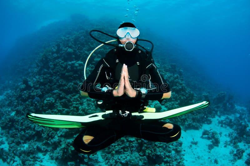 Scuba diver on a dive stock images