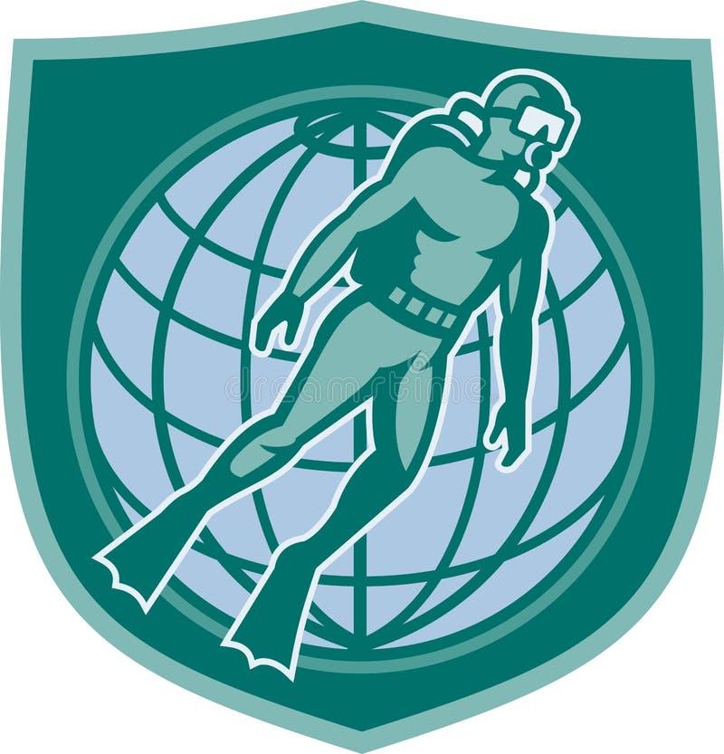 Download Scuba Diver Diving Dive World Shield Stock Vector - Image: 25415649