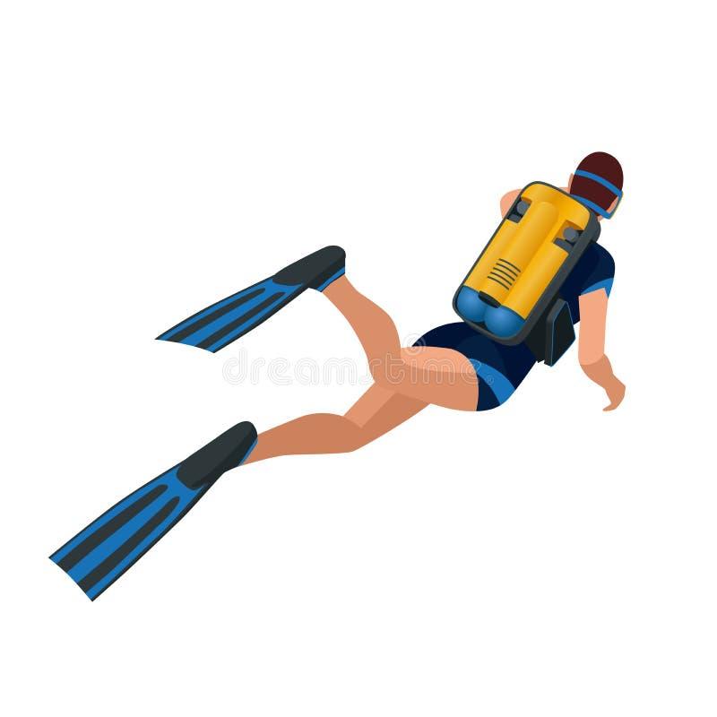 Scuba diver diving man back view. Scuba diving flat 3d isometric vector illustration. Scuba diver swimming under water. Scuba diver diving man back view. Scuba vector illustration