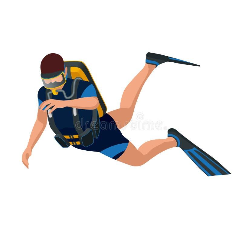 Scuba diver diving man front view. Scuba diving flat 3d isometric vector illustration. Scuba diver swimming under water.  royalty free illustration