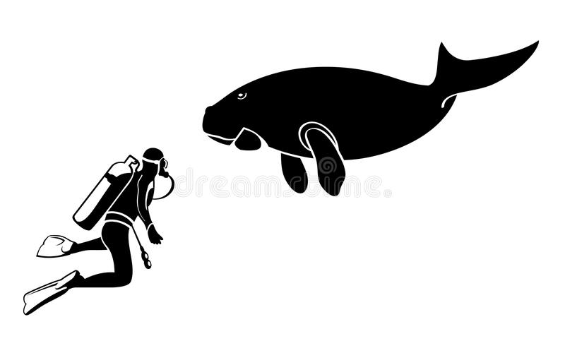 Scuba diver and dugong royalty free illustration