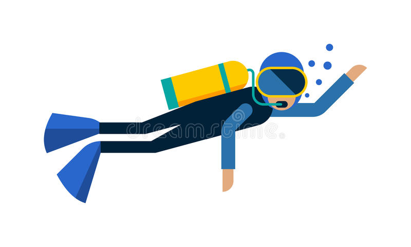 Scuba diver equipment water sport activity vacation leisure vector illustration. Underwater people diver isolated and scuba diver isolated extreme diving sport royalty free illustration