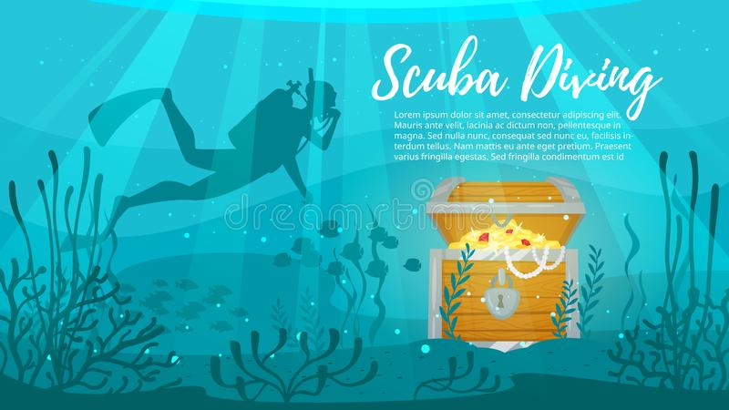 Scuba Diver explores treasure chest. Vector cartoon style underwater background with sea flora and fauna. Coral reef, sea plants and fishes silhouettes. Scuba vector illustration
