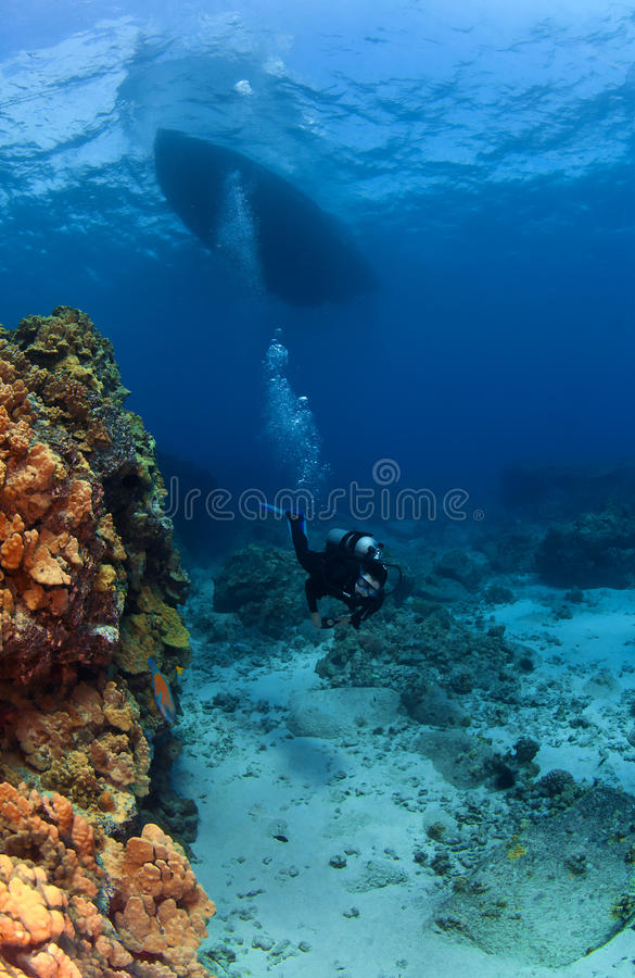 Free Scuba Diver Exploring Under The Boat Royalty Free Stock Photography - 22180397