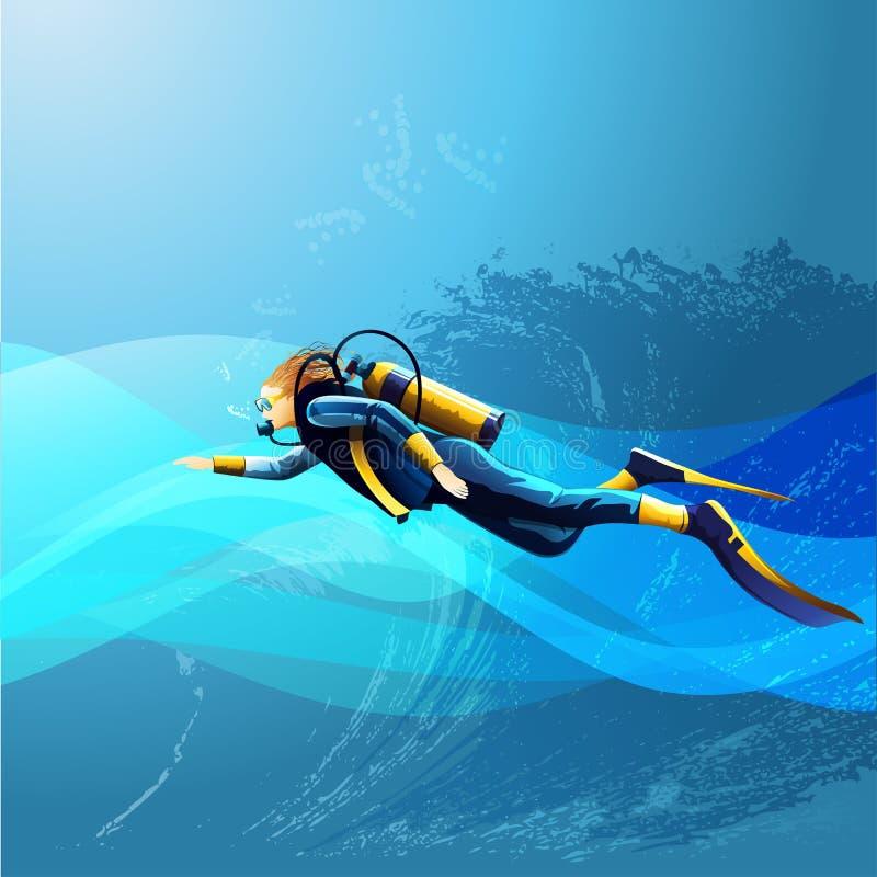 Scuba Diver Girl. On blue sea background vector illustration