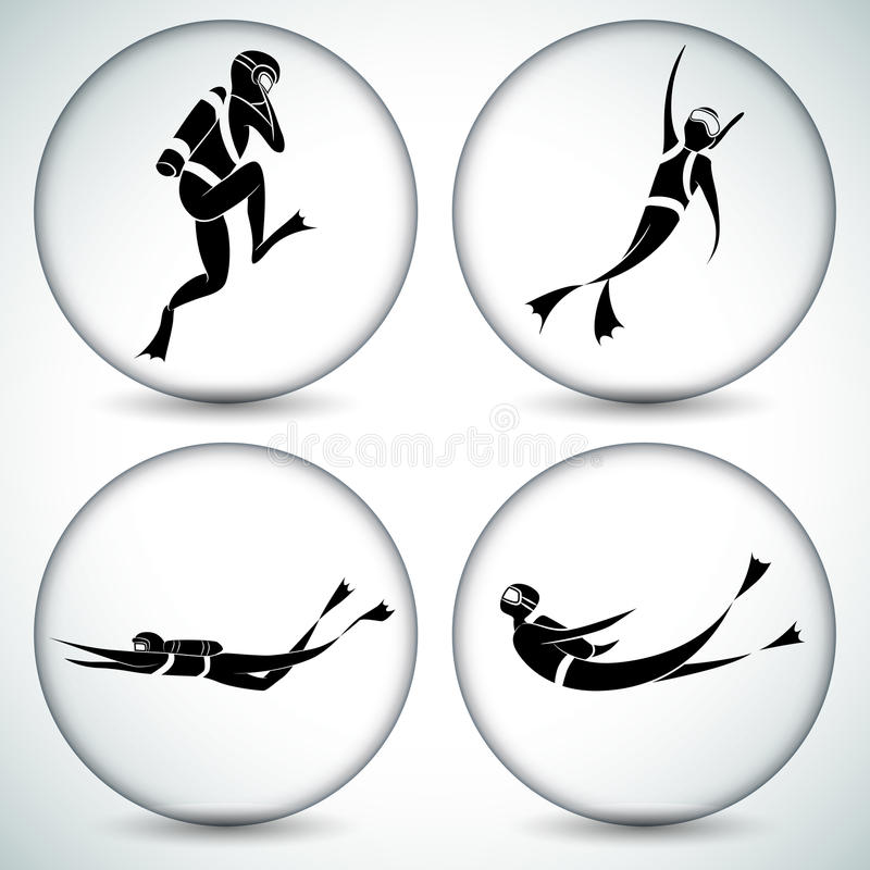 Scuba Diver Icon Set. An image of a scuba diver icon set vector illustration