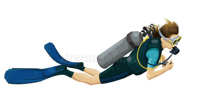 Scuba diver. Illustration of a scuba diver on a white background vector illustration