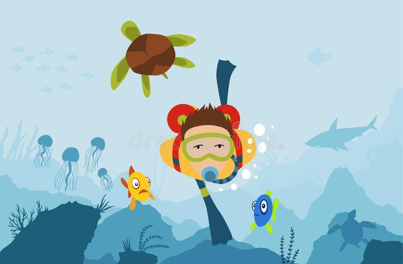 Scuba diver man diving with big turtle at the bottom of the sea with underwater vegatation vector illustration graphic royalty free illustration