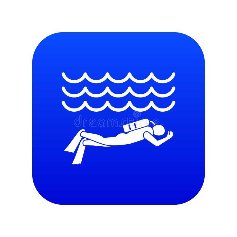 Scuba diver man in diving suit icon digital blue vector illustration