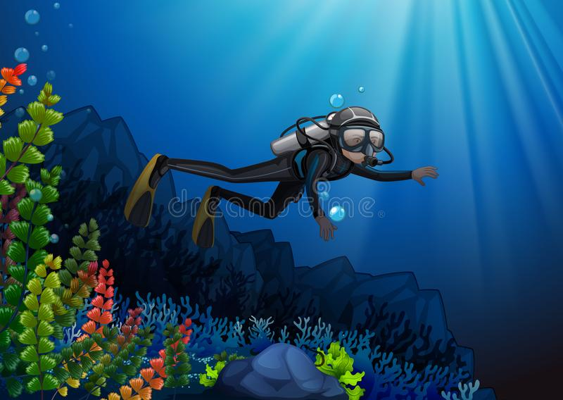 Scuba diver in a reef. Illustration stock illustration