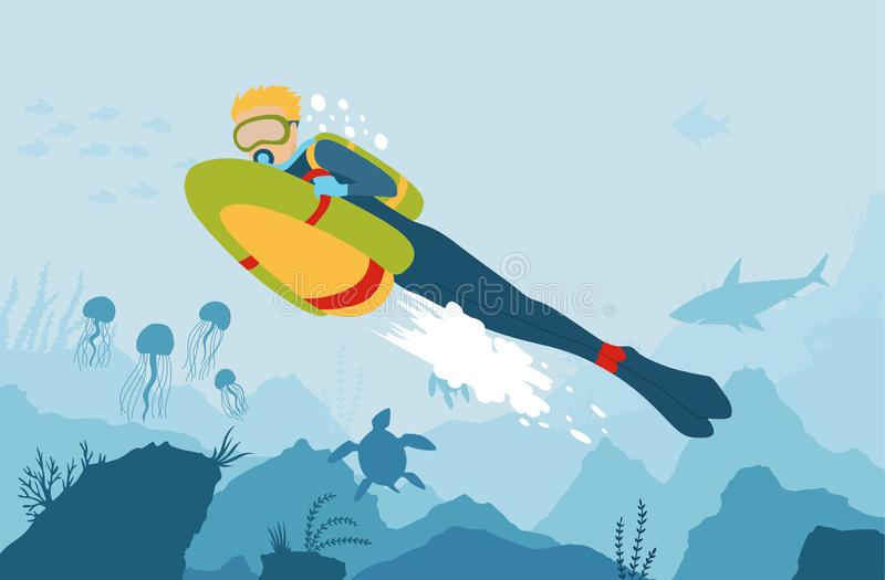 Scuba Diver with sea bob explores the bottom of the sea. Vector cartoon style underwater background with sea flora and stock illustration