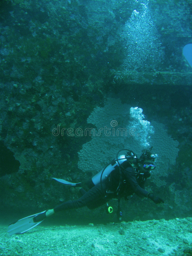 Scuba diver seabed wreck explorer royalty free stock images