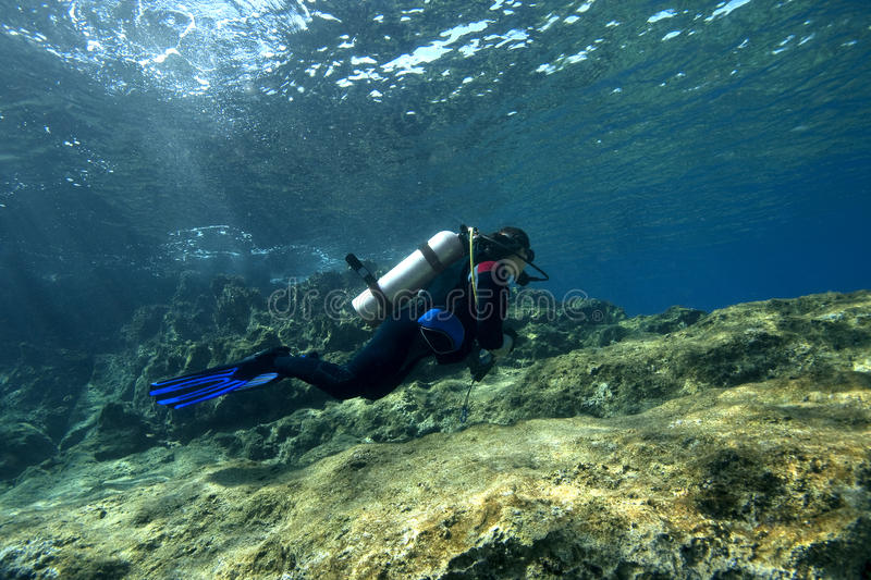 Download Scuba-Diver In Shallow Water Stock Image - Image of turkey, ocean: 12177019