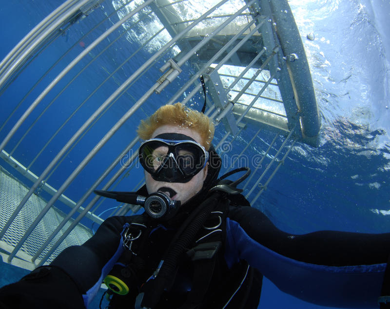 Scuba diver with shark cage stock photography
