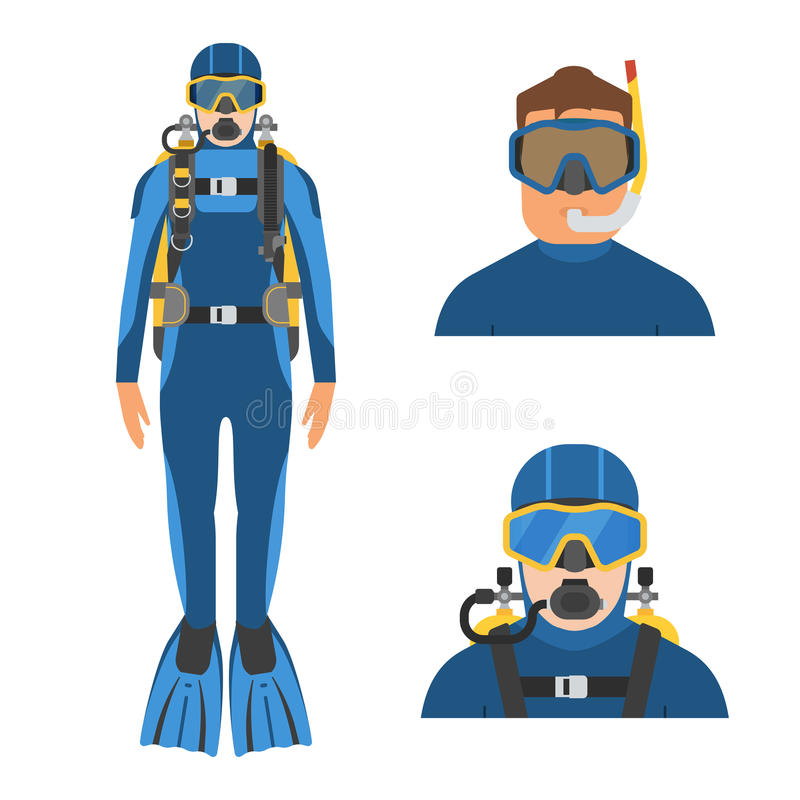 Scuba Diver and Snorkeler. Scuba diver man in wetsuit in full height. Aqualanger and snorkeler in water suits. Underwater sportsmen avatars royalty free illustration