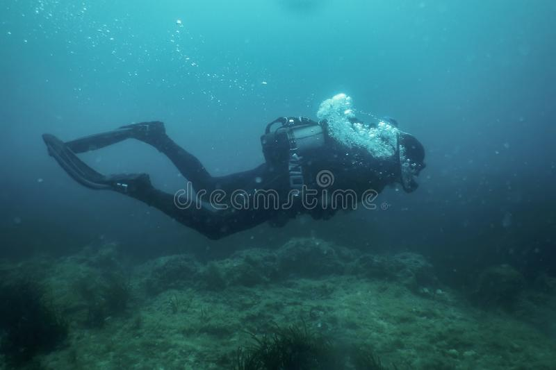 Scuba Diver Swimming Underwater Explores Reef and Examines Seabed. Underwater stock photography