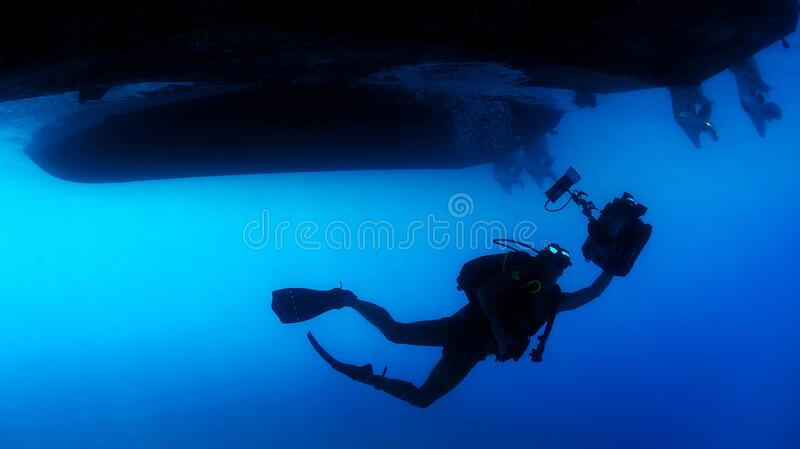 Scuba Diver Under Ship Free Public Domain Cc0 Image