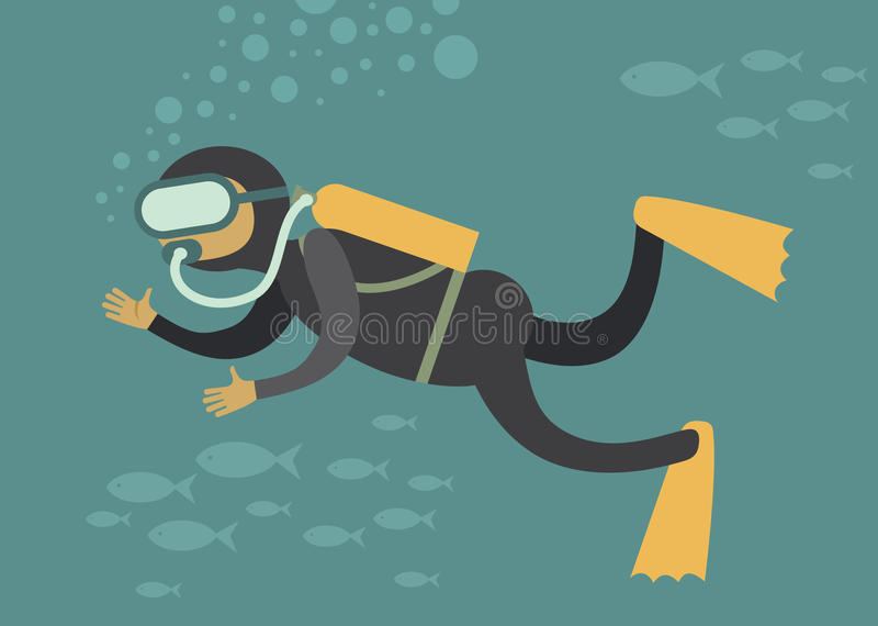 Scuba diver. Under water cartoon vector character stock illustration