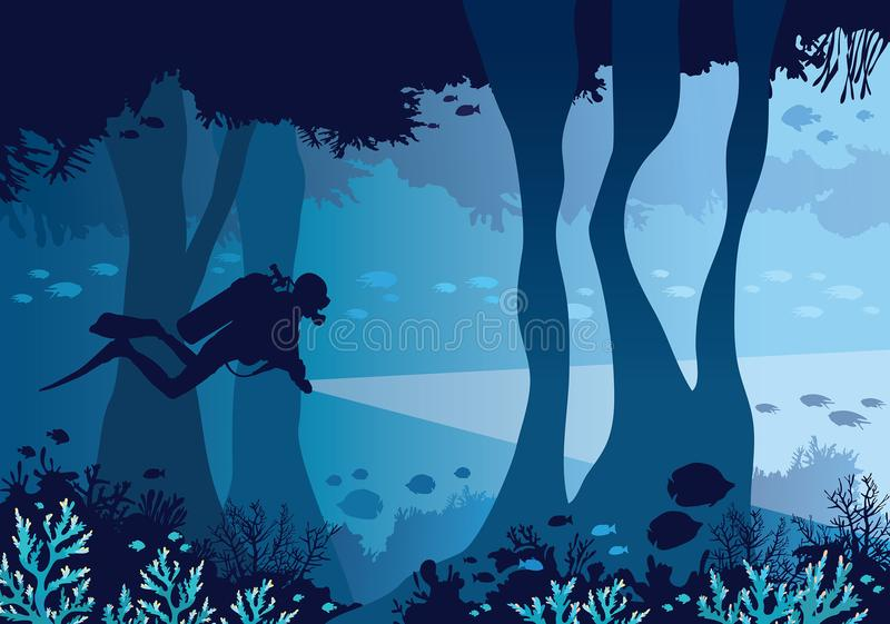 Scuba diver, underwater cave, coral reef, fish, sea. Underwater cave with coral reef, school of fishes and silhouette of scuba diver on a blue sea background stock illustration