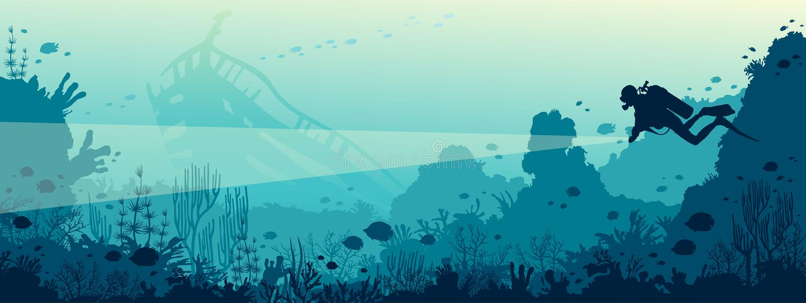 Scuba diver, underwater wreck, coral reef, sea. Silhouette of scuba diver with lantern and coral reef with fishes on a blue sea. Vector nature illustration vector illustration