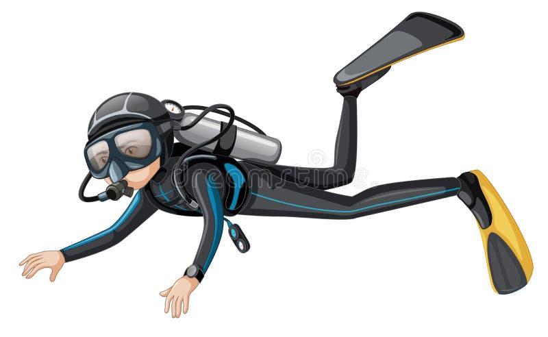 A scuba diver on white background. Illustration royalty free illustration