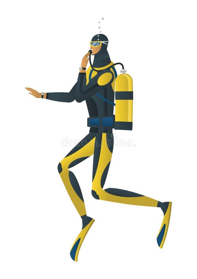 Scuba diver on white background. Vector cartoon style illustration of scuba diver on white background stock illustration