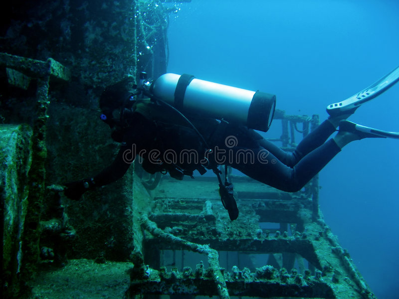 Download Scuba Diver On Wreck Boracay Philippines Stock Photography - Image: 1605252