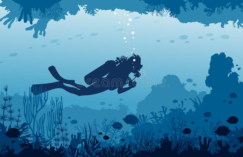 Scuba divers, cave, coral reef, fishes. Underwater sea and water. Vector nature illustration with underwater marine wildlife. Silhouette of scuba diver swims in royalty free illustration