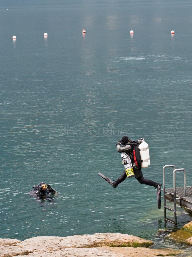 Scuba Divers on Lake Garda, Italy royalty free stock photos
