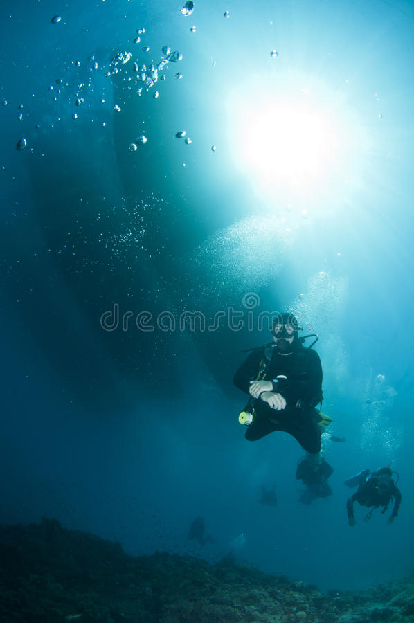 Scuba divers over coral reef royalty free stock photos