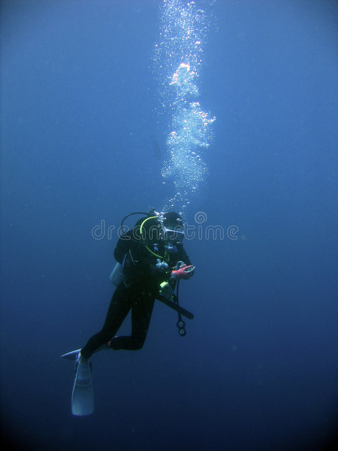 Scuba divers underwater safety stop stock photo