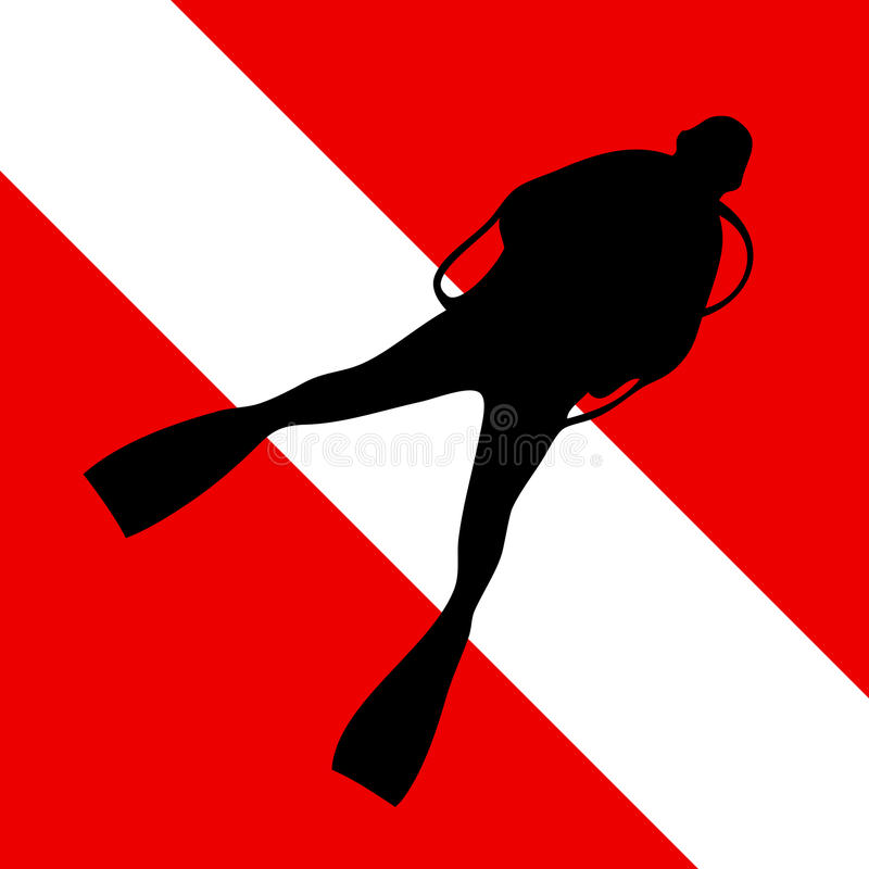 Scuba diving. Official international scuba diving red flag with white stripe and with black diver silhouette. Vector, EPS vector illustration