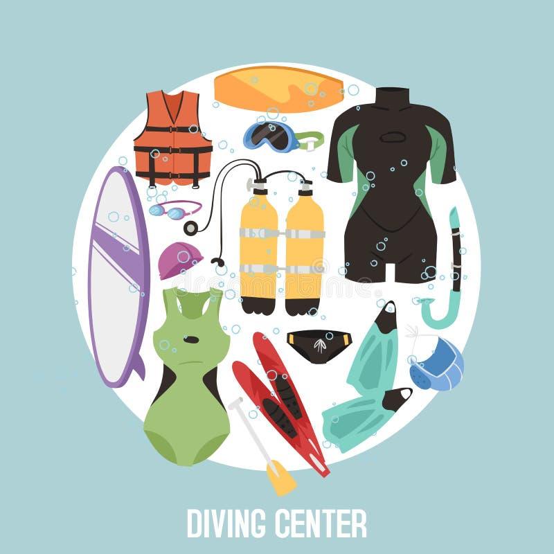 Scuba diving center banner vector illustration. Diver wetsuit, scuba mask, snorkel, fins, oxygen cylinders, lifebuoy stock illustration