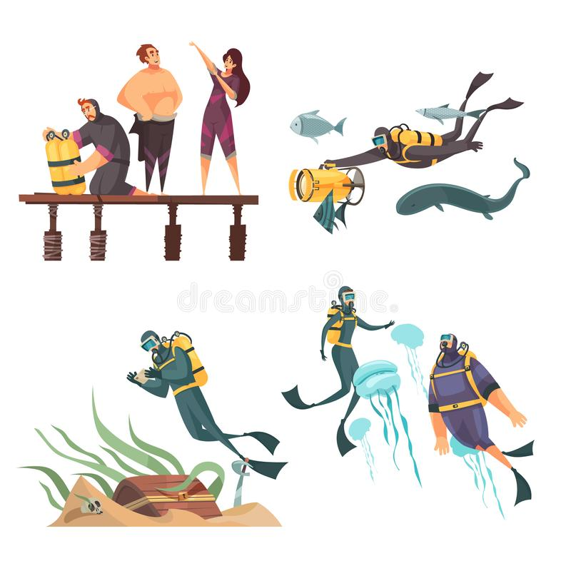 Scuba Diving Compositions. Scuba diving adventure 4 flat compositions with putting on gear wetsuit swimming with dolphins jellyfish vector illustration royalty free illustration