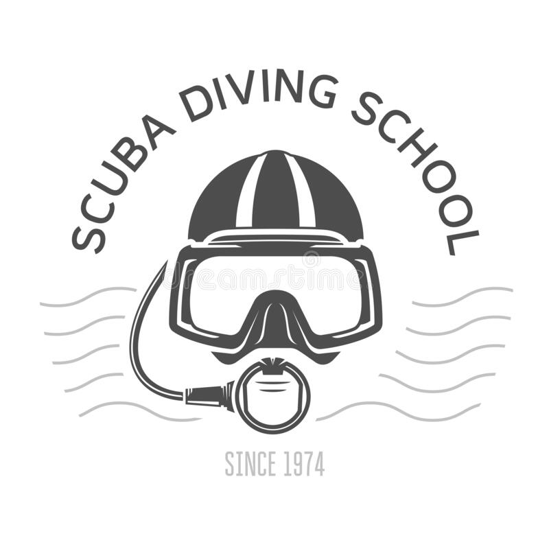 Free Scuba Diving Emblems Or Logo, Diving Mask And Aqualung, Underwater Swimming Design With Diver Face Royalty Free Stock Images - 200043729