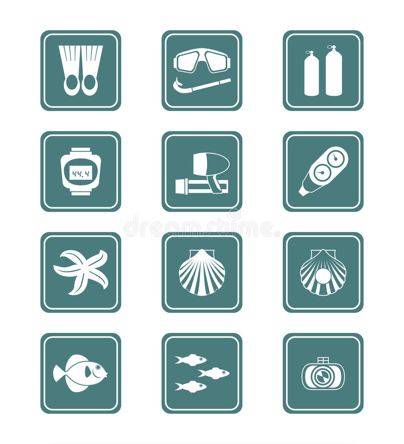 Download Scuba Diving Icons   TEAL Series Stock Vector - Image: 8524893