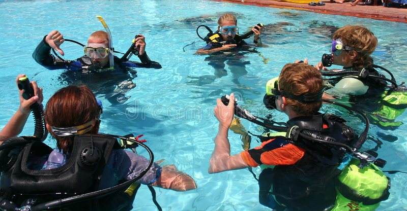 Scuba diving lesson stock image