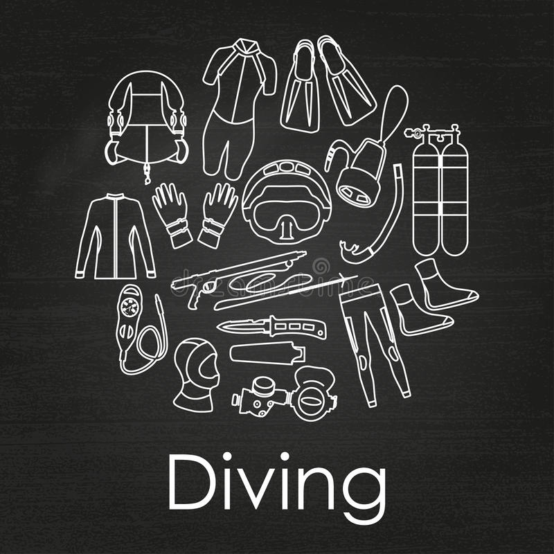 Free Scuba Diving Linear Equipment On Chalkboard Background. Stock Photos - 74814133