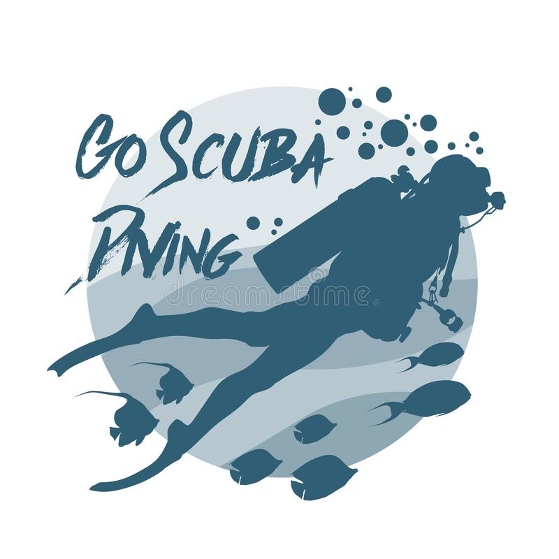 Scuba diving logo. Vector logotype or badge for Diving Center. stock illustration