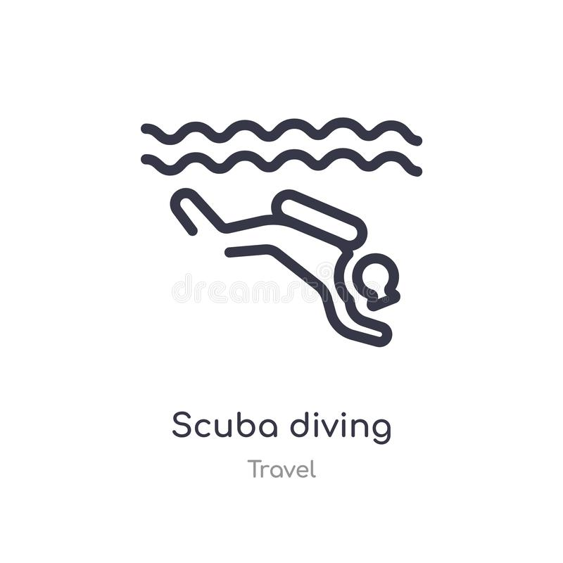 Scuba diving outline icon. isolated line vector illustration from travel collection. editable thin stroke scuba diving icon on. White background stock illustration