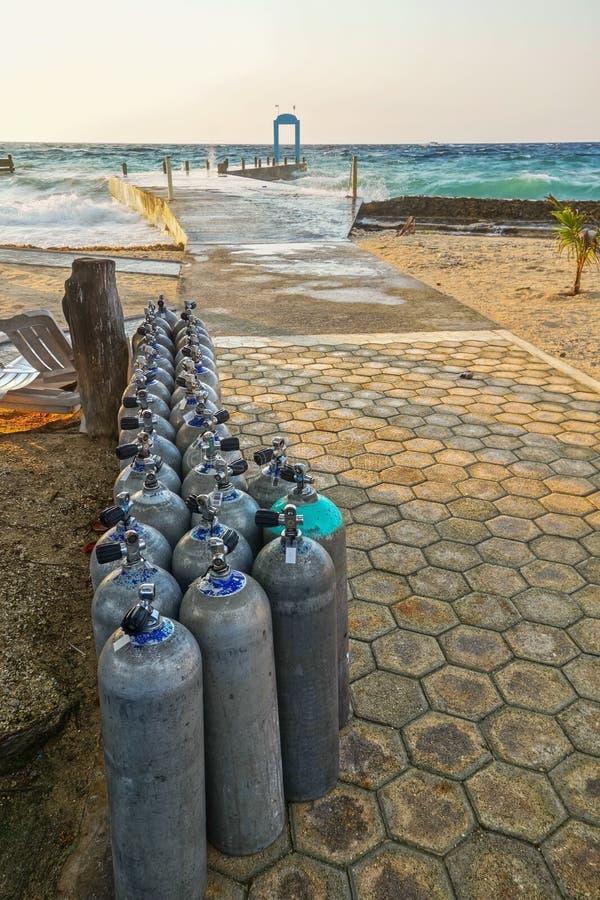 Scuba Diving Oxygen Tanks Tropical Resort Beach Caribbean Sea Cozumel Mexico stock photography