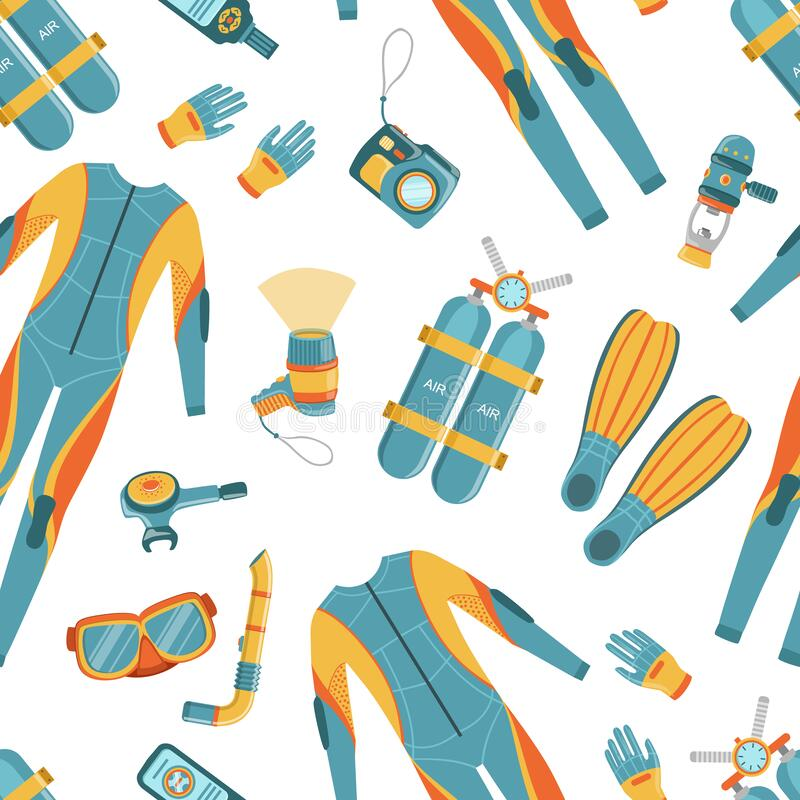 Scuba Diving Padrão Ininterrupto, O Elemento De Design Pode Ser Usado Em Malha, Papel De Moldagem, Ilustração De Vetor De Wallpap ilustração stock