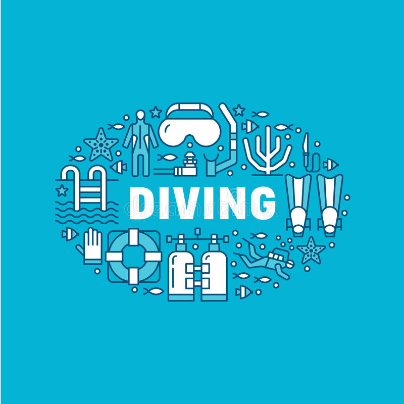 Scuba diving, snorkeling banner illustration. Water sport vector flat line icons, summer activity. Spearfishing. Equipment brochure, poster design. Isolated on royalty free illustration