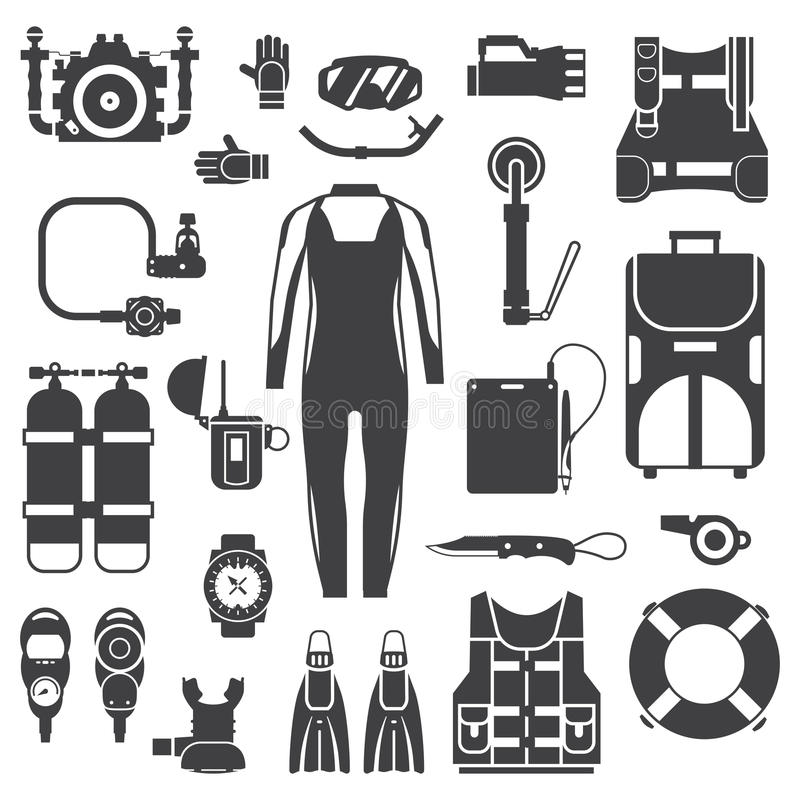 Scuba Diving and Snorkeling Gear Icons vector illustration